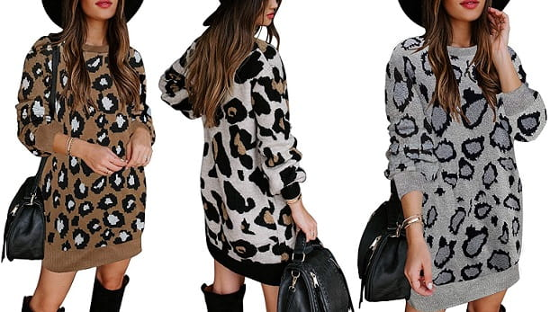 This Leopard-Print Sweater Dress Wins the Cozy Fall Fashion Contest